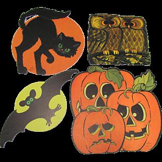 Four Halloween Decorations Cat Bat Owl & Jol