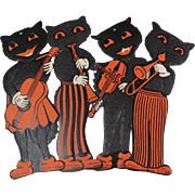 Four Halloween Musical Cat Die-Cuts Lightly Embossed