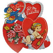 4 Small Valentines Hearts Cupid Roses