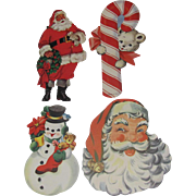 4 Christmas Die Cuts Santas Snowman Candy