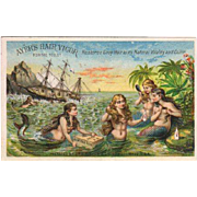 Five Mermaids Ayer's Hair Vigor Trade Card