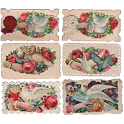 Six Die-Cut Calling Cards With Doves Hands & Roses #1