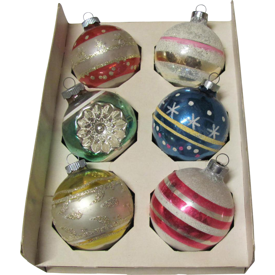 Box 6 Large Vintage Christmas Ornaments