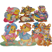 6 Small Easter Die Cut Decorations Rabbits Ducks Chicks