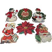 6 Small Christmas Die Cut Decorations Santas Snowmen