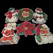 6 Small Christmas Die Cut Decorations Santas Snowmen