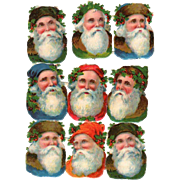 German Die-Cut Multi Colors Santa Heads Sheet Of 9