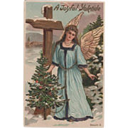 Embossed Christmas Angel postcard