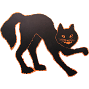 Halloween Arched Cat Flat Surface Black Orange