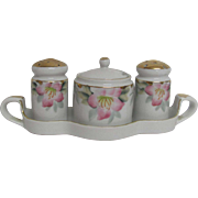Noritake Azalea Condiment Set Mustard Jar w/ Spoon,  S & P, Tray