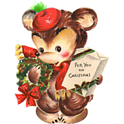 1946 Die-Cut Hallmark Bear Christmas Stand-Up Card