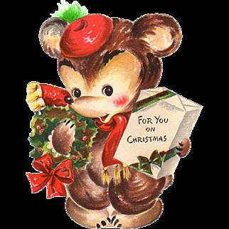 1946 Die-Cut Hallmark Bear Christmas Stand-Up Card