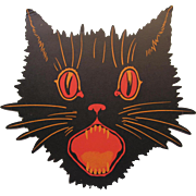Halloween Black Cat Face Open Mouth Dennison