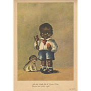 1929 Black Boy & Dog Book Print