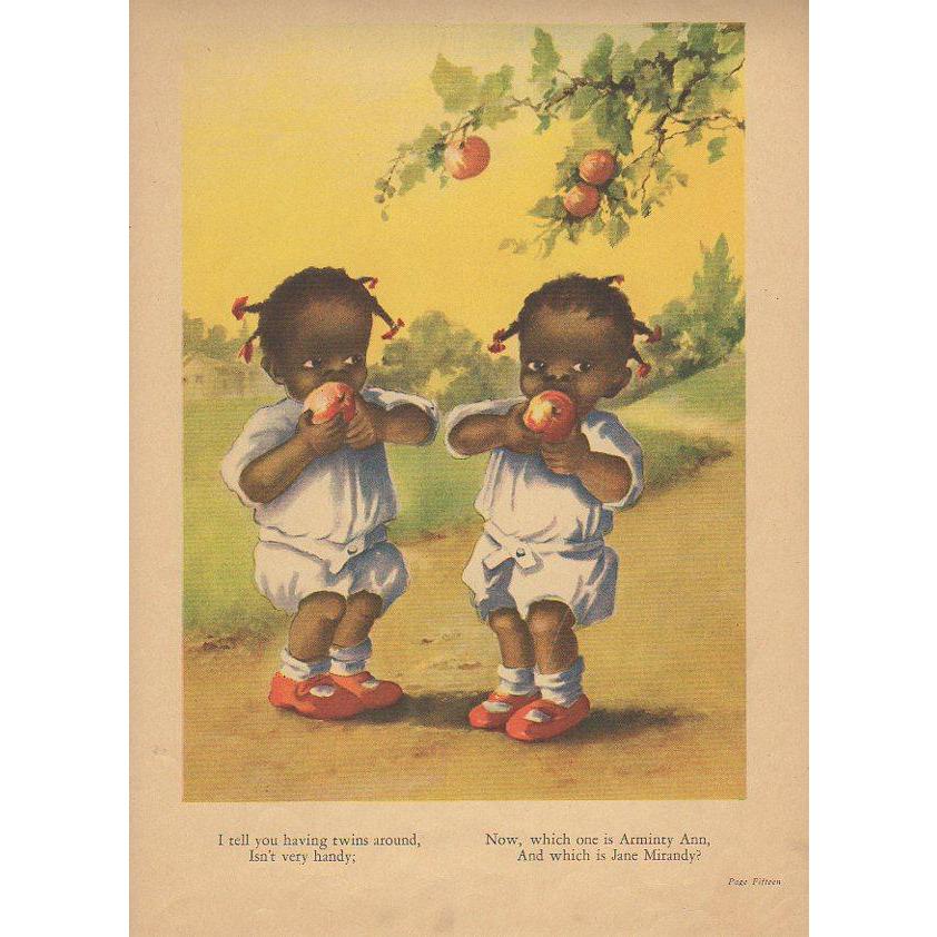 1929 Black Twin Girls Book Print