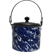 Cobalt Blue Swirl Graniteware Berry Bucket