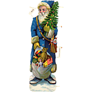 German Santa Die-Cut Blue Robe Toys Christmas Tree