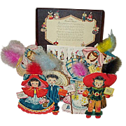 1947 Hallmark Doll Treasure Chest & 8 Doll Cards