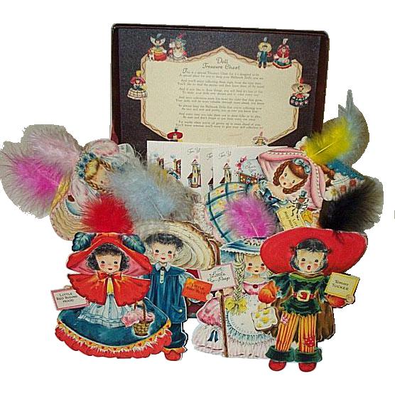 1947 Hallmark Doll Treasure Chest & 8 Doll Cards