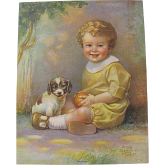 Small Boy With Puppy & Ball Print Annie Benson Muller