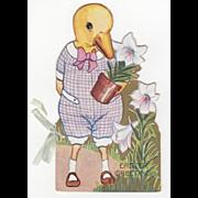 Vintage Embossed Die-Cut Little Boy Duck Easter Booklet