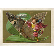 Child With Net & Giant Butterfly Blank Trade Card