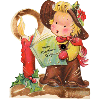 Scribbles Die-Cut Hallmark Child/Candle Christmas Stand-Up Card