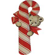 Christmas Candy Cane With Bear Decoration by Dennison