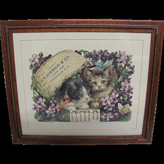 Charming Cats & Violets Embossed Die-Cut 1910 Calendar Vintage Frame