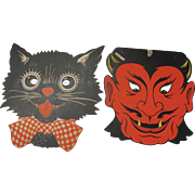 Halloween Face Masks 1 Devil and 1 Black Cat