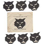 12 Halloween Cat Heads & Envelope