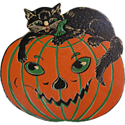 Large Embossed Halloween JOL with Cat