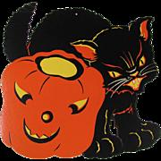 Halloween Snarling Black Cat JOL Die Cut Decoration