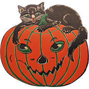 Halloween Large JOL with Cat Embossed Die-Cut USA