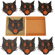 Halloween Dennison Set of 6 Cat Face Cutouts in Box
