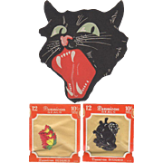 Halloween Snarling Cat Face & 2 Dennison Seals Packs