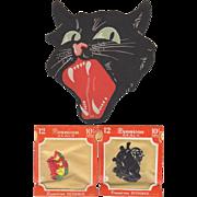 Halloween Snarling Cat Face & 2 Dennison Seals Packs