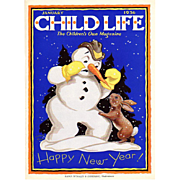 Snowman Jan 1936 Child Life Magazine Cover Only
