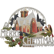 Merry Christmas Church Self-Standing German Die Cut