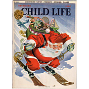 Child Life Dec 1940 Magazine Santa Skiing