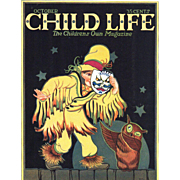 Halloween Child Life Oct 1924 Cover Only Scary Child Owl
