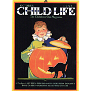 Halloween Child Life Oct 1933 Cover Only JOL Black Cat
