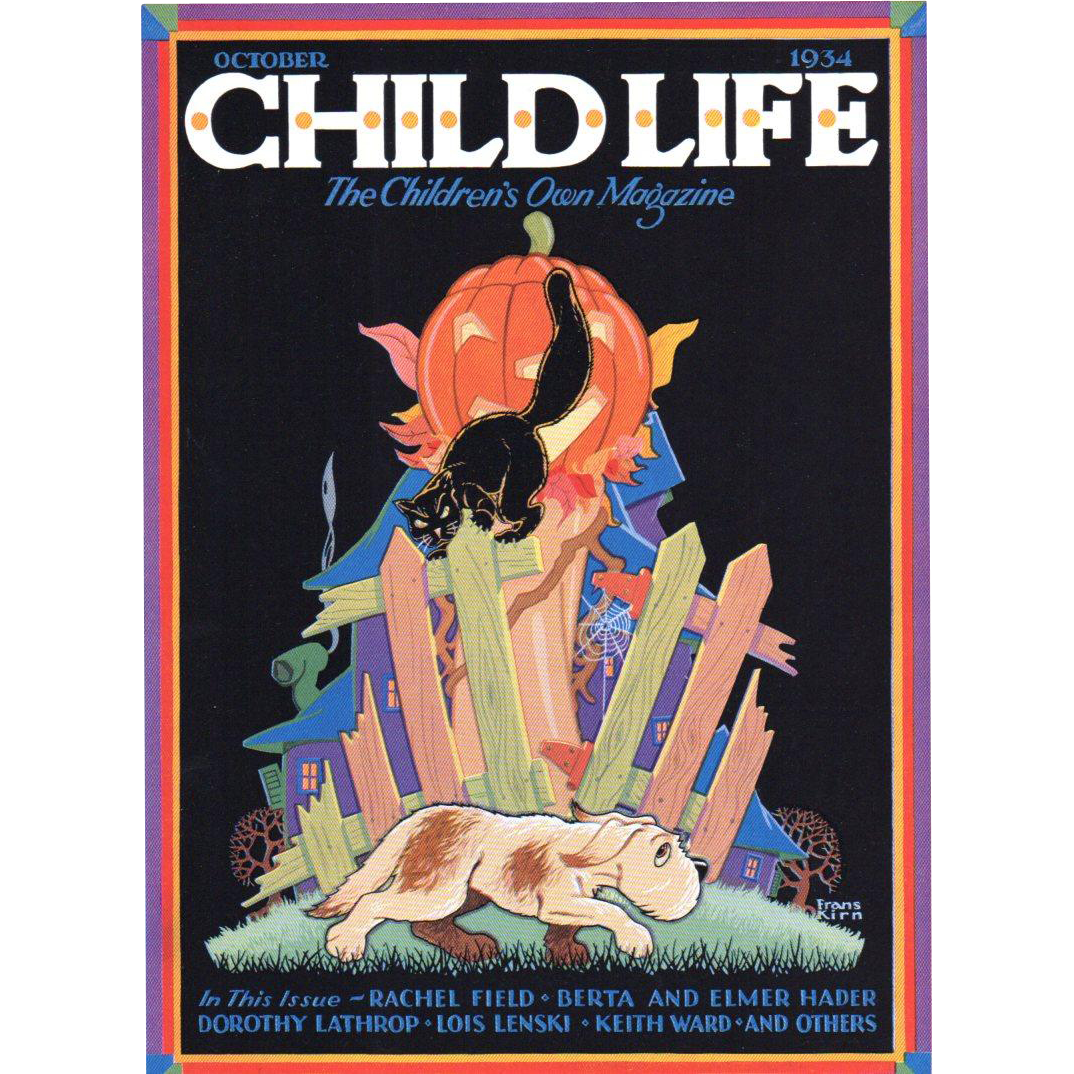 Halloween Child Life Oct 1934 Cover Only JOL Black Cat & Dog