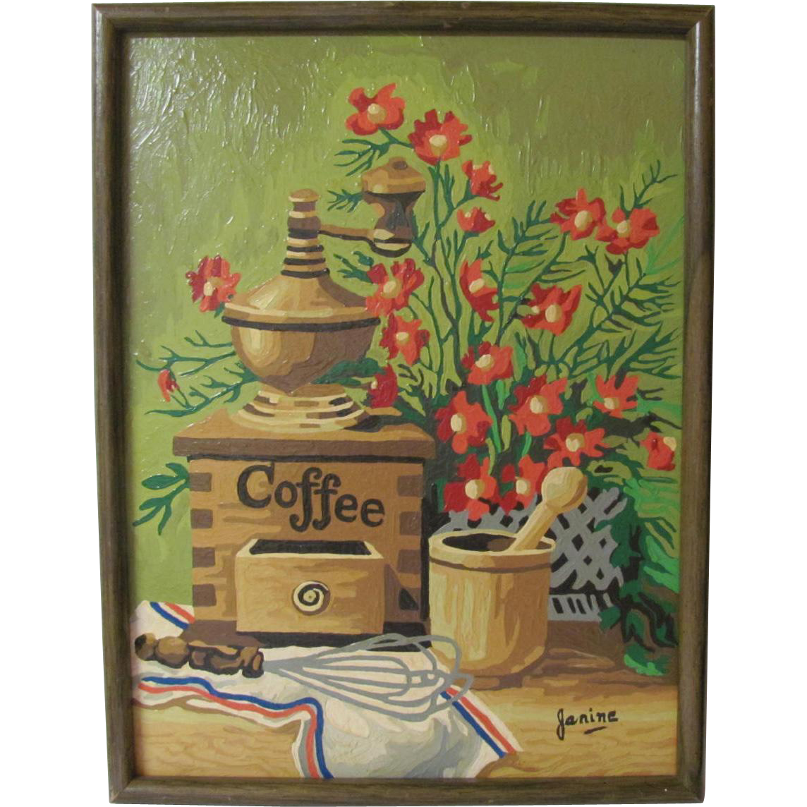Framed Paint By Number Kitchen Coffee Grinder