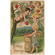 Embossed Cupids Gathering Hearts From Tree Postcard