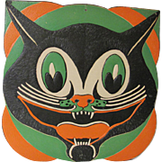 Large Embossed Art Deco Halloween Cat Face Die Cut USA