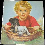 Pair Cute Child & Dog Calendar Prints
