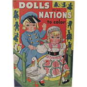 1940 Dolls Of All Nations To Color Book Unused