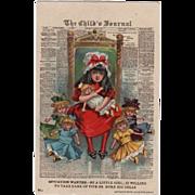 1908 Julius Bien Postcard Girl With Five Dolls Cute!