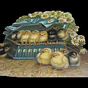 Embossed Easter Die Cut 14 Chicks In Blue Basket